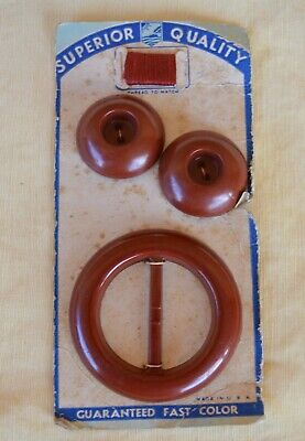 VTG Superior Quality 1940s Plastic Buckle 2 Buttons Matching Thread Dk Maroon?