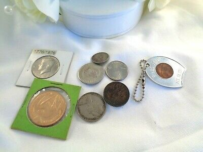Vintage Estate Coin Token Medallion Keychain Lot 1916 - Texas Souvenir Etc