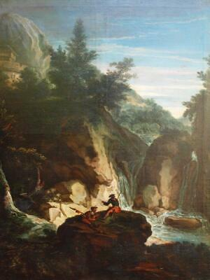 V/Large c1750 ITALIAN ROCKY RIVER LANDSCAPE WITH BANDITTI Antique Oil Painting