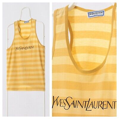90s Vintage Mens YVES SAINT LAURENT YSL Tank Top T Shirt Yellow Big Logo Size L