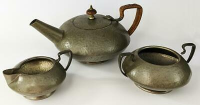 TUDRIC ARTS & CRAFTS HAMMERED PEWTER TEA SET c1920