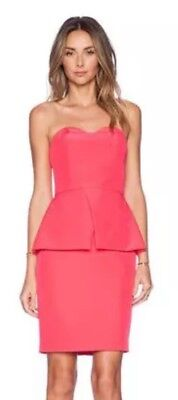 Finders Keepers Strapless Peplum Coral Pink Designer Dress Size L (14) New