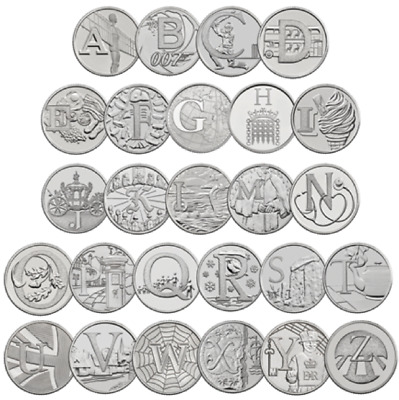 2018 10P A-Z Coin All 26 Letters Full Set Alphabet Ten Pence ** Uncirculated **