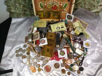 Junk Drawer LOT Lighters, Silver coins, knives, watches, cigar box, COOL STUFF