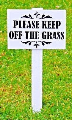BIG SIZE ''Please Keep Off The Grass Sign''. 10.1 mm thick stake Heavy duty ABS