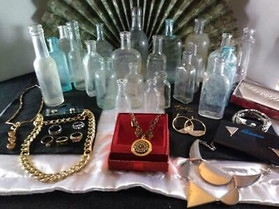 Junk Drawer LOT Jewelry and vintage bottles