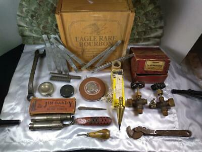 Junk Drawer LOT Vintage Tools, knife, torch, rulers, wooden whiskey box