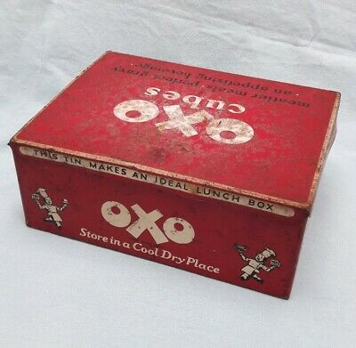 Vintage Lunch Box Tin OXO Cubes Metal 7 x 5 inches