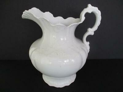 """Gorgeous Ornate Embossed Antique WHITE IRONSTONE 12"""" Water Pitcher"""
