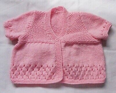 Baby Girls Hand Knitted Cardigan Pink Short Sleeve New 3-6 months