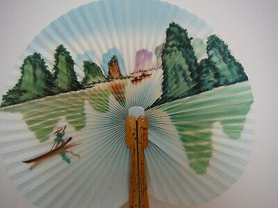 Vintage Hand Fan Paper & Bamboo Lake & Mountains Design Excellent Condition