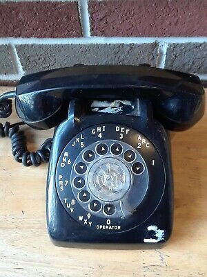 Vintage 1960s Black Automatic Electric Rotary Phone Telephone