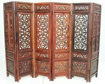 "Original Vintage Chinese Carved Rosewood 6 Fold Table Screen Antique 13"" x 9.75"""