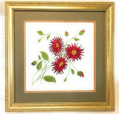 Crewel Needlework Picture Red Flowers Hand Finished Matted Framed Glass 14 X 14