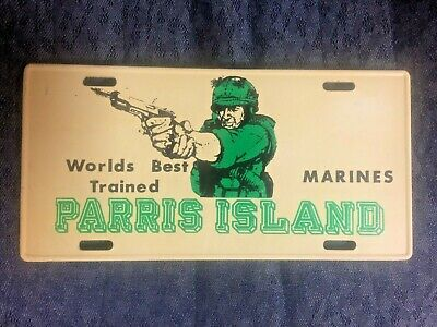 "Vintage USMC Parris Island "" Worlds Best Trained Marines"" Old License Plate"