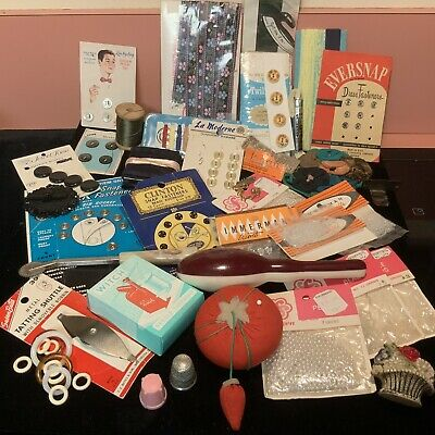 Vintage Junk Drawer Lot Sewing Items Beads Buttons Shuttle Thimbles And More
