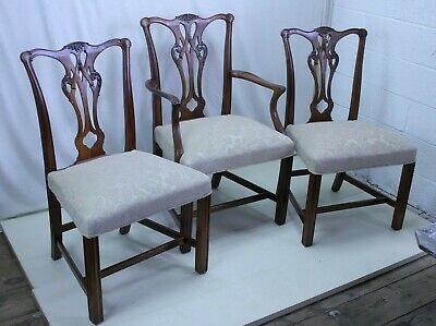 Set of Eight (8) Mahogany Chippendale Chairs, Newly Refinished and Reupholstered