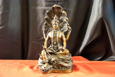 "Indian Hindu God Vishnu Narayana Bronze Statue 10 lbs. 12"" High"