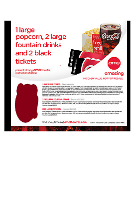 2 AMC Theater Black MOVIE TICKETS, Large POPCORN & 2 Large Drinks EMAIL DELIVERY
