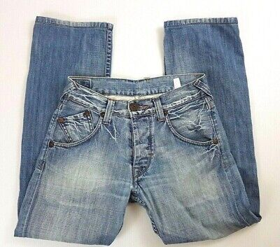 Pepe London Button Fly Mens Blue Jeans Size 31 L29