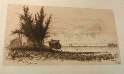 2 plate sign SANGSTER ETCHINGS Sailing squaw Island/Catholic Seminary falls view