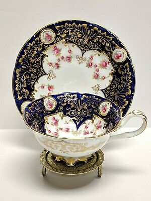 ANTIQUE CAULDON ENGLAND FOOTED TEA CUP & SAUCER DAVIS COLLAMORE & CO LD 1800s