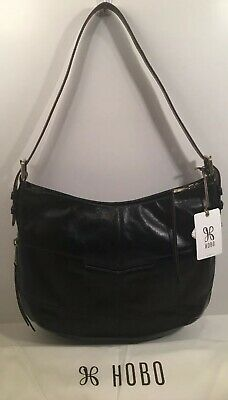 HOBO International Serra Black Leather Zip Shoulder Bag NWT $238 For Rowan