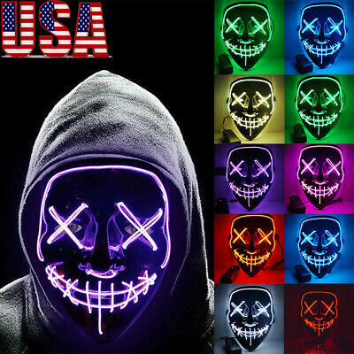 Halloween Scary Mask Cosplay EL Wire Light Up Costume Mask for The Purge Movie