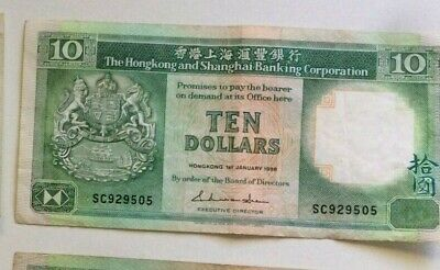 Hong Kong and Shanghai  Banknote. $10. Ten Dollars . 1985 - 1992.