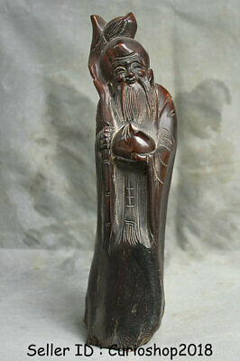 """10.4"""" Rare Old Chinese Rosewood Wood Hand Carved longevity God Shouxing Statue"""