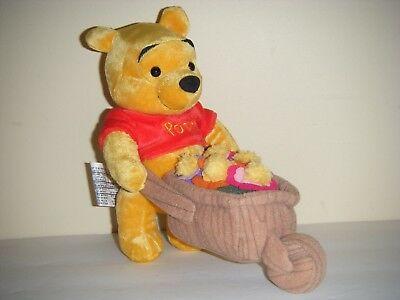 "Disney Store WINNIE THE POOH 7"" Plush Toy Flower Theme"