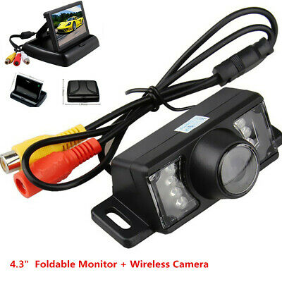 "Wireless Waterproof Car Parking Reverse Back Up Camera + 4.3"" Foldable Monitor"