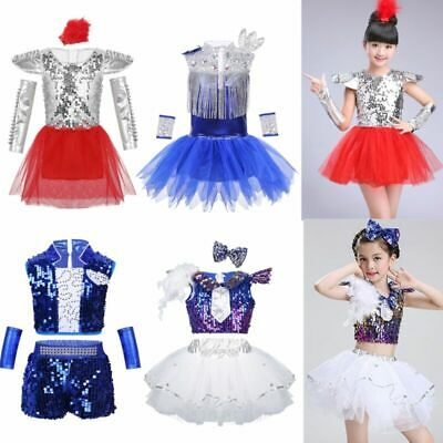 Shiny Girls Kids Jazz Dance Dress Child Sequins Hip Hop Street Dance Costume Set