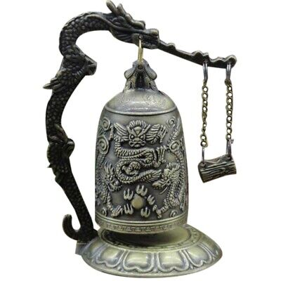 Vintage Dragon Ball Hang Decoration Buddhist Bell Ornament Bronze Lock Monk R6B1