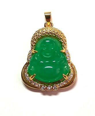 1Gold Plate Green JADE Pendant god smooth happy small Buddha Necklace EB2866231