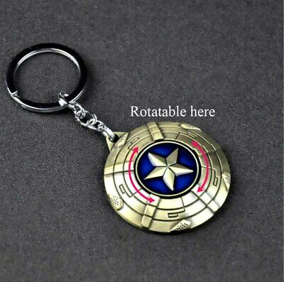 New Alloy Metal The Avengers Rotatable Captain America Shield Key Chain Keyring