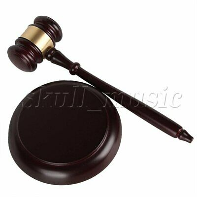 Wooden Gavel and Block for Lawyer Judge Auction Sale Dark Brown