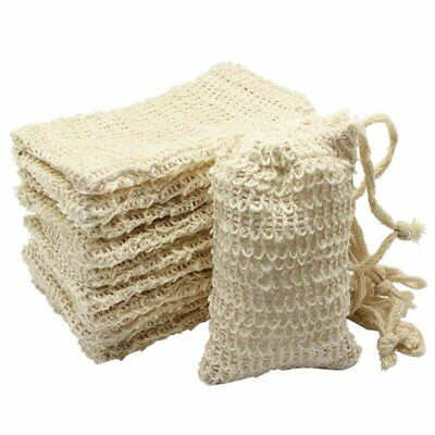 5X(10 Pack Natural Sisal Soap Bag Exfoliating Soap Saver Pouch Holder C9M8)