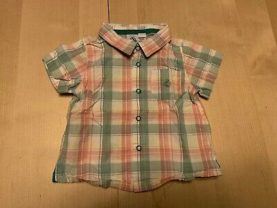 Petit Bateau Plaid Button Down Shirt, Boys 6 Months, Short Sleeves