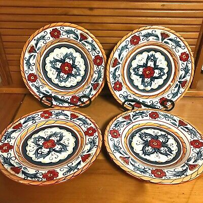 "Tabletops Gallery Italiano Hand Painted Dish Dessert Luncheon Plates 8.75"" round"