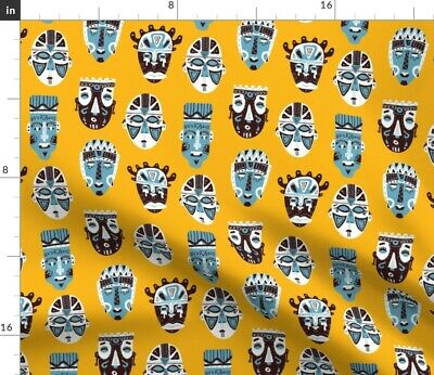 Tribal Masks African Traditional Folk Art Fabric Printed by Spoonflower BTY