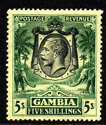 Gambia 5/- Stamp c1922-29 Mounted Mint SG120 (gum creases as usual)