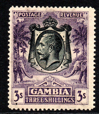 Gambia 3/- Stamp c1922-29 Mounted Mint (gum tone and messy)