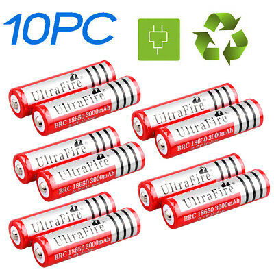 10 x 18650 3.7V 3000mAh Li-ion Rechargeable Battery Cell For Torch Flashlight AU