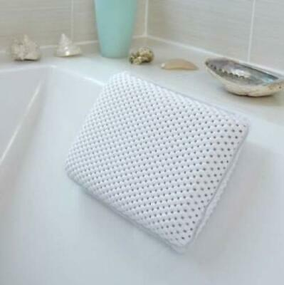 Cushioned Bath Pillow White 29 x 19cm Suction Cups Bathroom Bathing