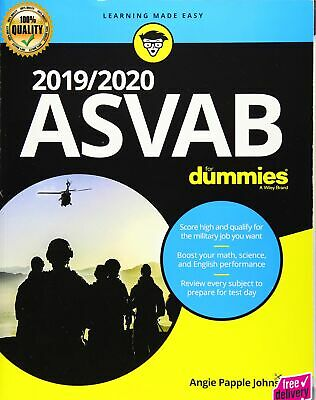 2019 Or 2020 ASVAB For Dummies by Angie Papple Johnston Paperback 1 edition NEW