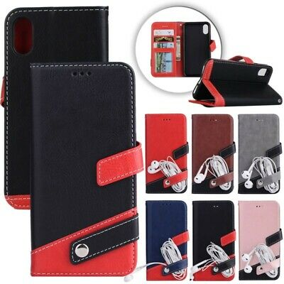 For i Phone Xs Max XR 8 Luxury Leather Wallet Card Holder Flip Case Cover Stand
