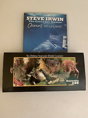 Australia Zoo Six Deluxe Souvenir Drink Coasters-Crocodile Hunter-Steve Irwin