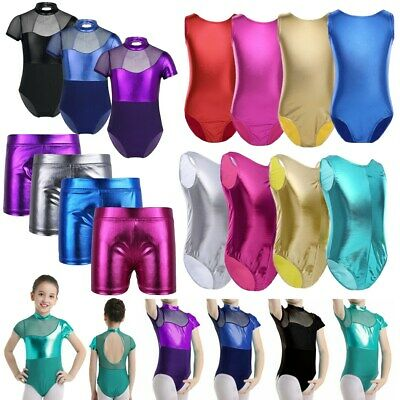 Kids Girls Metallic Gymnastics Ballet Dance Leotard Shiny Patent Leather Shorts