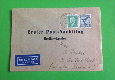 Germany First Overnight Postal Flight Berlin To London 1/5/29